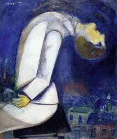 Marc Chagall / Man with Head Thrown Back / 1919 / Oil on board mounted on wood