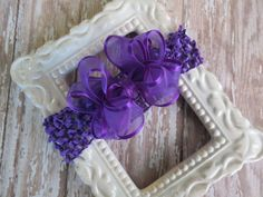 PURPLE organza hair bow headband baby infant toddler Cici's #CicisBowBoutique