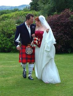 A kilt is worn at Scottish weddings (My son wore his kilt for his recent wedding, with a bagpiper, it was just beautiful) Kilt Wedding, Tartan Wedding, Wedding Dress Men, Wedding Men, Wedding Couples, Wedding Ideas, Wedding Stuff, Traditional Wedding Attire, Men In Kilts