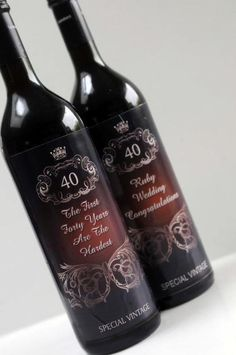 2 Ruby Wedding Anniversary Wine Labels   Craftsy