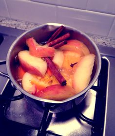 Chemical free Holiday house scent! Place a small pan of water on low heat add slices of apple & orange with 3 cinnamon sticks and 1tbs whole cloves... Add water as it evaporates but you can usually use this 2+ weeks! Smells like the holidays without coming from an aerosol can...