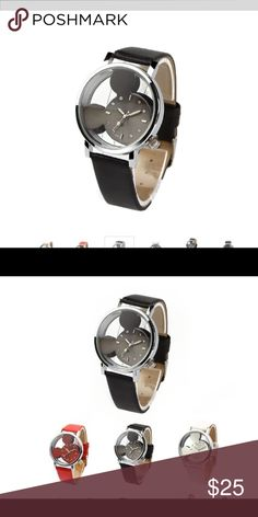 Transparent Mickey Watch Black strap with a black stainless steel Mickey. Both the face and back are transparent Accessories Watches