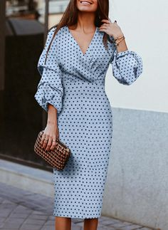 PolkaDot 3/4 Sleeves Sheath Casual Midi Dresses Elegant Midi Dresses, Casual Dresses, Style Bleu, Blue Style, Dress Outfits, Fashion Dresses, Frack, Robes Midi, Dresses Short