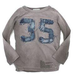 DENIM DUNGAREE(デニム&ダンガリー):ビンテージテンジク35 9分袖Tシャツ 23LGR薄グレイ の通販【ブランド子供服のミリバール】