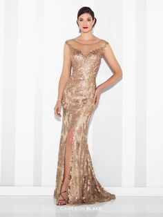 Sequin novelty fit and flare gown with illusion cap sleeves and bateau neckline, sweetheart bodice, illusion deep V-back, center front slit, sweep train. Style # 117619 #BridalDebut #CameronBlake #MOTB #Gold #WeddingPlanning
