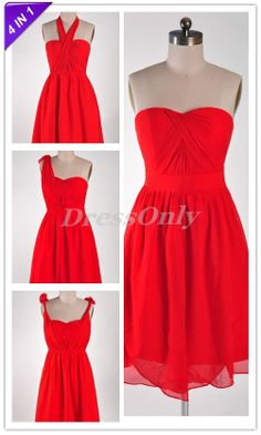 Four in One Convertible Bridesmaid Dress Red by DressOnly on Etsy, $75.00