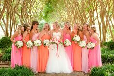 Pink and orange bridesmaid dresses. Southern Weddings Magazine