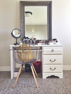 I would love to have this. I've always wanted a makeup table with a mirror, and I absolutely love the chair too!