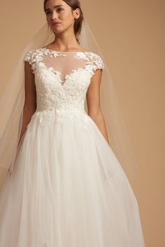 Style 7859 Jolie Ti Adora by Allison Webb bridal gown - Ivory lace and tulle bridal ball gown. Embroidered lace illusion bodice with cap sleeves, low illusion back, and full tulle and English net skirt. Wedding Gowns With Sleeves, Long Sleeve Wedding, One Shoulder Wedding Dress, Wedding Dress Pictures, Dream Wedding Dresses, Gown Wedding, Wedding Bells, Main Image, Dress Out