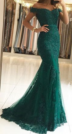 The Shoulder Lace Mermaid Prom Dresses 2019 Elegant Evening Gowns – alinanovaYou can find L.Off The Shoulder Lace Mermaid Prom Dresses 2019 Elegant Evening Gowns – alinanovaYou can find L. Dark Green Prom Dresses, Pretty Prom Dresses, Formal Dresses For Women, Elegant Dresses, Formal Gowns, Emerald Green Dress Long, Emerald Green Dress Prom, Dark Green Long Dress, Elegant Evening Gowns