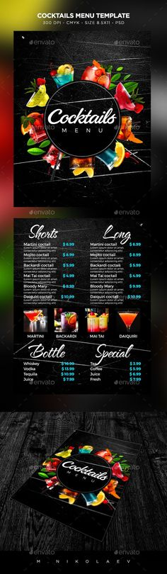 Cocktail Drinks #Menu - #Food Menus Print #Templates Download here: https://graphicriver.net/item/cocktail-drinks-menu/19376392?ref=alena994