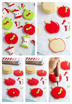 Learn how to make these cute apple with worm cookies with this step by step tutorial. Fun simple sugar cookies decorated with royal icing and a candy worm. Summer Cookies, Fall Cookies, Easter Cookies, Heart Cookies, Valentine Cookies, Birthday Cookies, Christmas Cookies, Apple Cookies, Easy Sugar Cookies