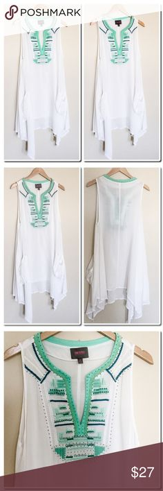 Embroidered Beach Coverup Beautiful Beach Coverup with Embroidered detail on front panel- Asymmetric Hem- 100% Rayon - Machine Wash Cold - Flat dry - NWOT Swim Coverups