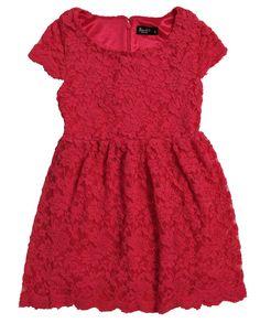 Lace Cap Sleeve Dress - Bardot Junior  $69.95  Dark Pink, Cream