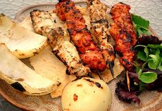 Shish Taouk... Grilled chicken kabobs. Two different marinades.