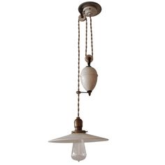 "French ""Rise and Fall"" Pulley Lamp for in front of wood-burning oven"