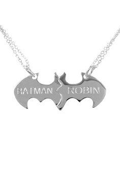 "I want this, but I get the part that says ""Batman"" -  no debating, it's funnier that way, lol ----- Batman & Robin Best Friends Necklace"