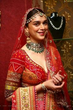 Aditi Rao Hydari Looks Ethereal As She Turns As A Perfect Muse For Designer Anju Modi To Unveil Her Wedding Collection - HungryBoo Indian Bridal Outfits, Indian Bridal Fashion, Indian Designer Outfits, Indian Dresses, Bridal Dresses, Designer Dresses, Wedding Dress, Wedding Wear, Wedding Ceremony