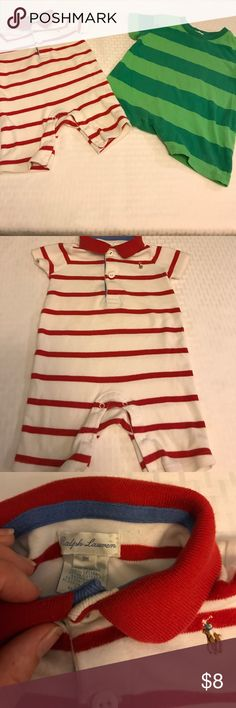 Baby Boy bundle of 2 Rompers Both are in loved but great condition. The white and red stripes is Ralph Lauren and is sized 9 months. The green stripes is Old Navy and is sized 6-12 months. Both are super comfy and perfect for warm weather. Smoke free home One Pieces