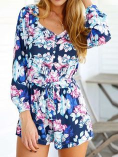 Blue Floral Sweetheart Long Sleeve Tie Waist Romper Playsuit
