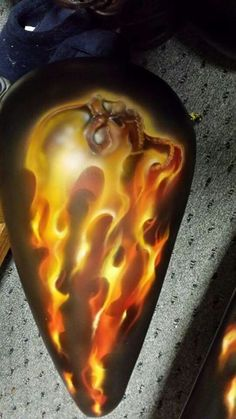 airbrushed skull and flames by AIR-FX AIRBRUSHING