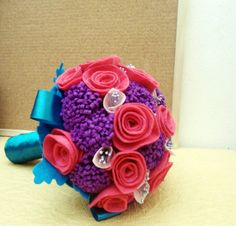 Pink & purple felt bouquet. Perfect for theme magical! pink purple and a bit of light pink