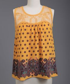 This Perch by Blu Pepper Mustard Lace-Panel Paisley Top - Plus by Perch by Blu Pepper is perfect! #zulilyfinds