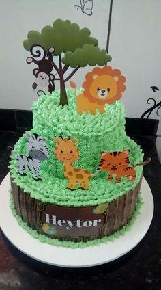 Jungle Birthday Cakes, Jungle Theme Cakes, Safari Theme Birthday, Boys 1st Birthday Party Ideas, Safari Cakes, Bday Cakes For Girls, Girl Cakes, Pastel Mickey, Ballerina Cakes