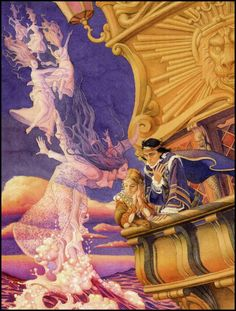 "artofnarrative: "" © Charles Santore ~ illustration from The Little Mermaid by Hans Christian Andersen ~ Jellybean Press ~ 1993 ~ via The Pictorial Arts "" Hans Christian, Mermaid Illustration, Children's Book Illustration, Charles Perrault, Street Art, Mermaids And Mermen, Fairytale Art, Merfolk, Mermaid Tails"