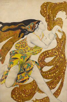 Costume design for Diaghilev's Russian Ballet Narcisse Boeotians, Leon Bakst, 1911