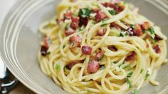Pasta carbonara (the original italian recipe with no cream etc)... I made this yesterday and it was yummy!