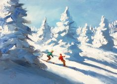 $50, DOWNHILL SKIERS 5x7 INCH OIL PAINTING by TOM BROWN, painting by artist Tom Brown