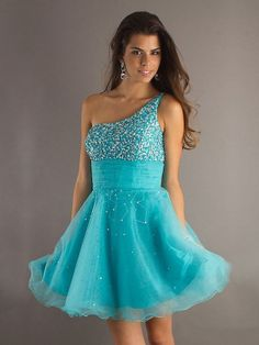 A-line One Shoulder Blue Beading Tulle Short/Mini Prom Dress at Millybridal.com