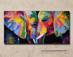 Pintura acrílica de elefante colorido en la decoración de la pared del lienzo por el artista Sumaree Nunsang de Tailandia. La pintura no está listo para colgar, no es marco. Esto es no una impresión de pintado a mano. Las pinturas eran copia de una pieza a otra, no una original. Al tamaño
