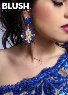 Blue Stone Earrings #Earring #fashion #jewelry #blue #gold #party #night