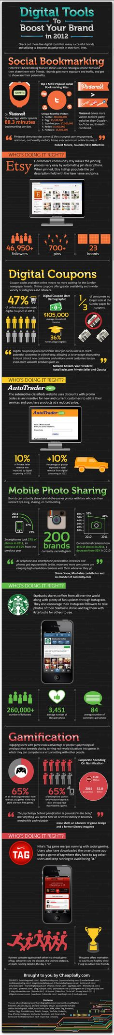 2012 Digital Tools to Boost Brand - Social Bookmarking - E-commerce - Digital Coupons - Mobile Photo Sharing - Gamification Marketing En Internet, Inbound Marketing, Business Marketing, Online Marketing, Social Media Marketing, Online Business, Mobile Marketing, Marketing Tools, Street Marketing