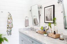Double Vanity Bathroom Mirrors: Ideas and Inspiration | Hunker Vanity Wall Mirror, Bathroom Styling, Double Vanity Bathroom, Bathroom Decor, Double Mirror Vanity, Vanity, Floating Vanity, Bathroom Farmhouse Style, Bathroom