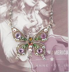 NWT ANNE KOPLIK OPEN WING PASTEL BUTTERFLY NECKLACE SWAROVSKI CRYSTAL