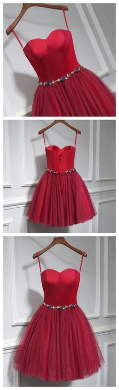 Chic A-line Sweetheart Burgundy Simple Tulle Short Prom Dress Homecoming Dress