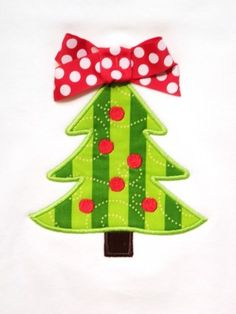 Christmas Tree with Dots Applique Design Machine Embroidery Design INSTANT DOWNLOAD