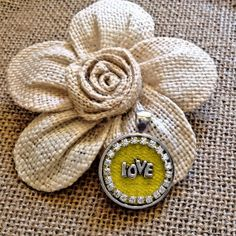 Yellow denim round love pendant by 44Angels on Etsy, $20.00