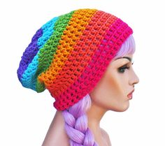 Rainbow Beanie  Crochet Slouch Ultimate Slacker by GlamourDamaged, $22.00