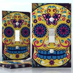 DIY Do It Yourself Home Decor - Easy to apply wall plate wraps   Sugar Skull Colorful skull on flower pattern wallplate skin sticker for 1 Gang Toggle LightSwitch   On SALE now only $3.95