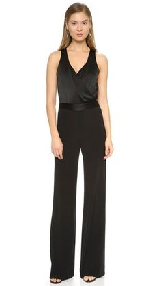 Diane von Furstenberg Layana Jumpsuit **Pair with the Brandon Maxwell Moto Jacket and Black satin, patent leather or beaded/Swarovski closed-toe stilettos or Metallic closed-toe stilettos. With black heels wear pearl, pearl drop, statement or gold tassel earrings.