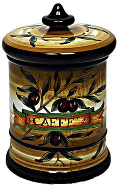 Ceramic Majolica Coffee Jar Tuscan Brown Olive ~ Sorella Luna