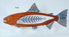 """Mahogany and Polished Metal Trout 25"""".. Wall Piece..  $350 Pledge"""