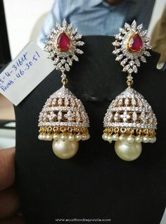 Diamond Jhumka from Ishwarya Diamonds ~ South India Jewels Diamond Earrings Indian, Gold Jhumka Earrings, Diamond Earing, Gold Earrings Designs, Diamond Jewelry, Gold Jewelry, Wedding Jewelry, Jewelry Rings, Diamond Jumkas