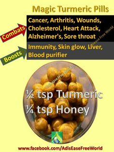 ARTHRITIS REMEDIES Magic turmeric pills- Ingredients : ½ tsp turmeric powder ¼ tsp honey Mix it properly and make small round pills. Have it with warm water. one a day during summer months, 2 in the winter, one hour after a meal with a glass of water. Turmeric For Cancer, Turmeric Pills, Turmeric Health, Turmeric Tea, Turmeric Curcumin, Arthritis Remedies, Herbal Remedies, Health Remedies, Natural Medicine