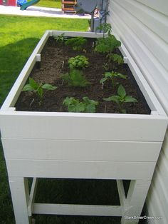 I like the idea of not having to bend down to tend to this garden. Plans for the planter box included.
