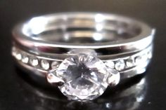 White Sapphire .84 carat 10kt White Gold Filled Ring 7 #Unbranded #SolitairewithAccents